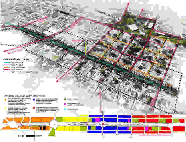 Croquis de conjunto de Paseo Montejo y barrios cercanos con análisis de intervención de Arturo Campos Arquitectos