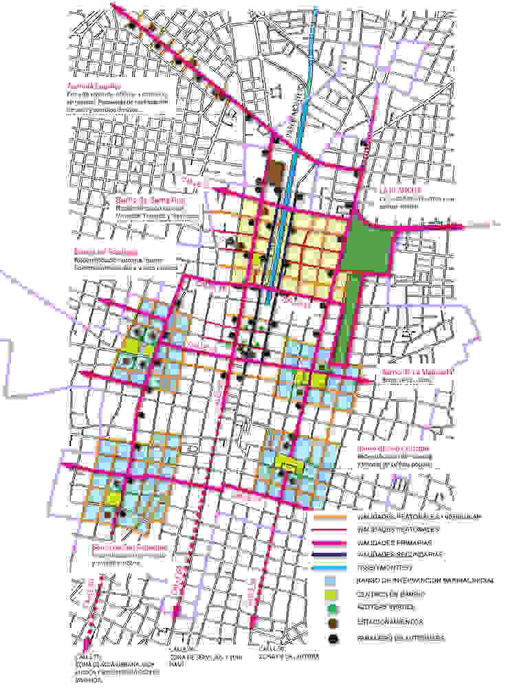 Croquis de conjunto de Paseo Montejo y barrios cercanos y su equipamiento y vialidades de Arturo Campos Arquitectos