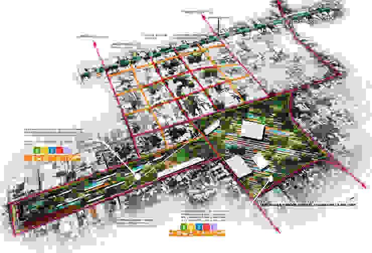 Croquis de la Plancha y sus conexiones vehicular y peatonal. de Arturo Campos Arquitectos