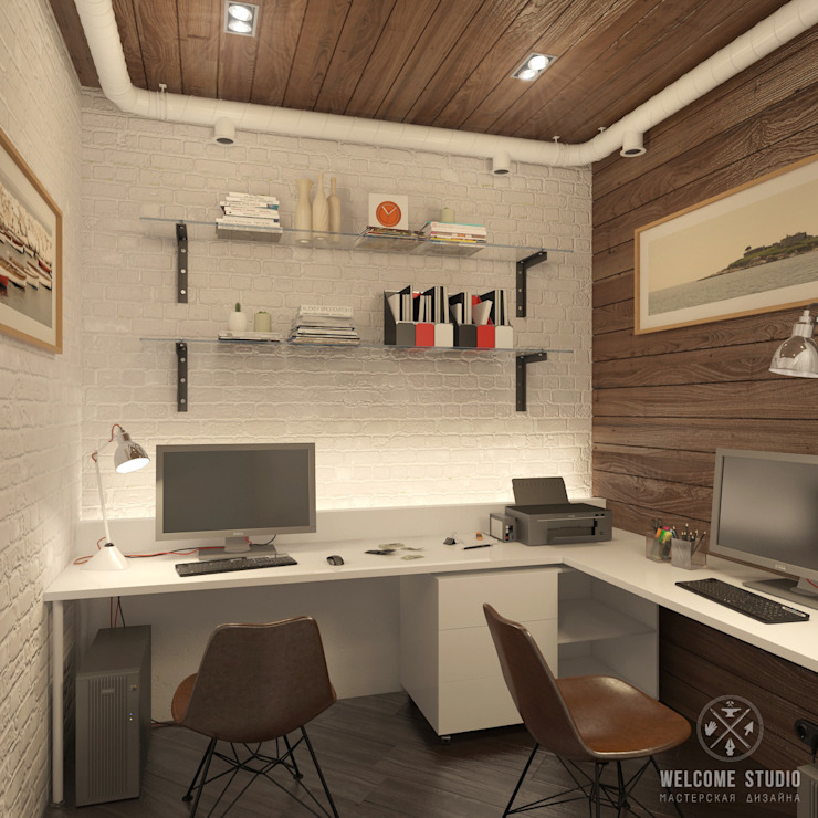 Мини-офис на ул. Рождественская (г. Н. Новгород) Рабочий кабинет в стиле лофт от Мастерская дизайна Welcome Studio Лофт