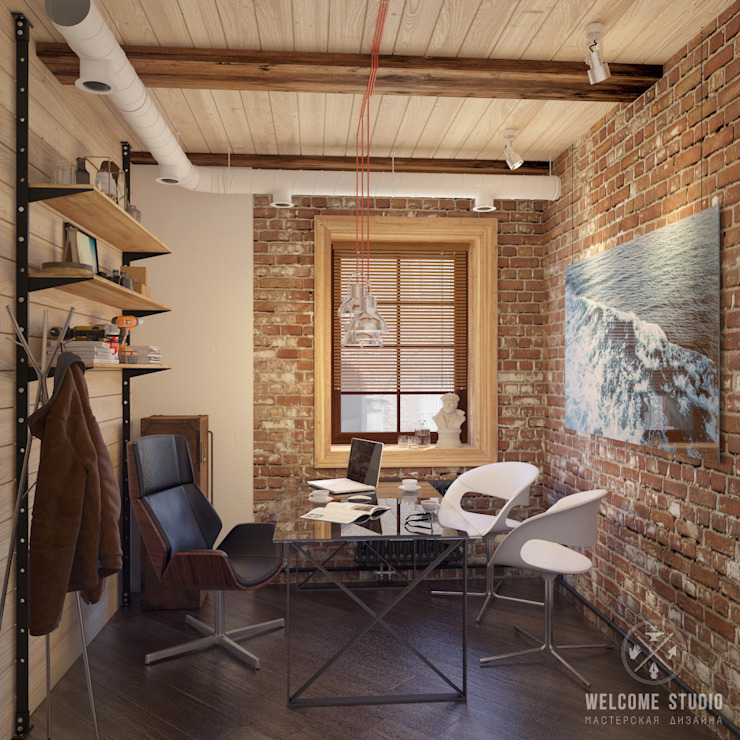 Industrial style study/office by Мастерская дизайна Welcome Studio Industrial