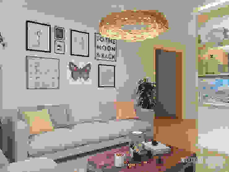 Проект HOME I Гостиная в частном доме Гостиные в эклектичном стиле от Мастерская дизайна Welcome Studio Эклектичный