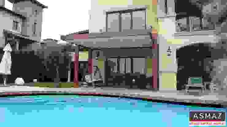 ASMAZ Timber Structures – İstanbul Toskana Vadisi Evleri Pergolata Uygulaması:  tarz Balkon, Veranda & Teras