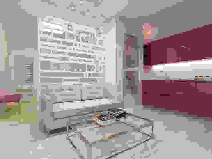 Однокомнатный минимализм: визуализация, частичный дизайн Гостиная в стиле модерн от OK Interior Design Модерн