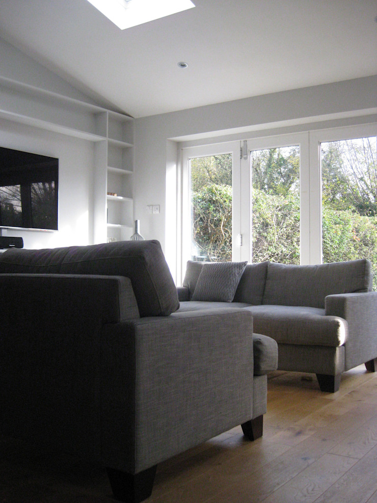 St Albans extension and redesign - living area with garden view by BrightSpaceDesign