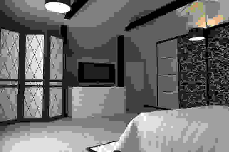 Интерьер спальни на мансардном этаже от Murat Sabekov