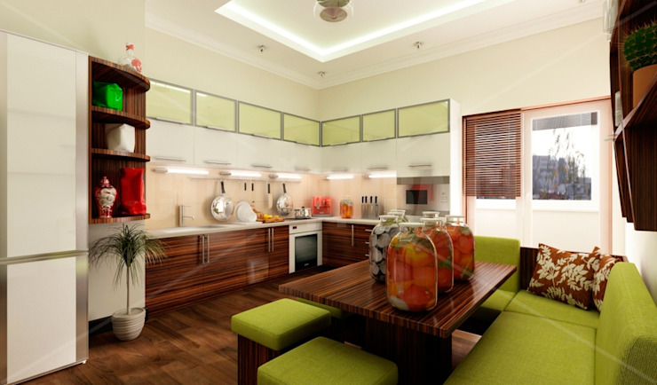 дизайн интерьера трехкомнатной квартиры Кухня в стиле модерн от СТРОЙДИЗАЙН Модерн