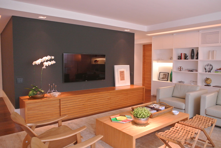 Apartamento Leblon Salas de estar modernas por Andréa Menezes & Franklin Iriarte Moderno