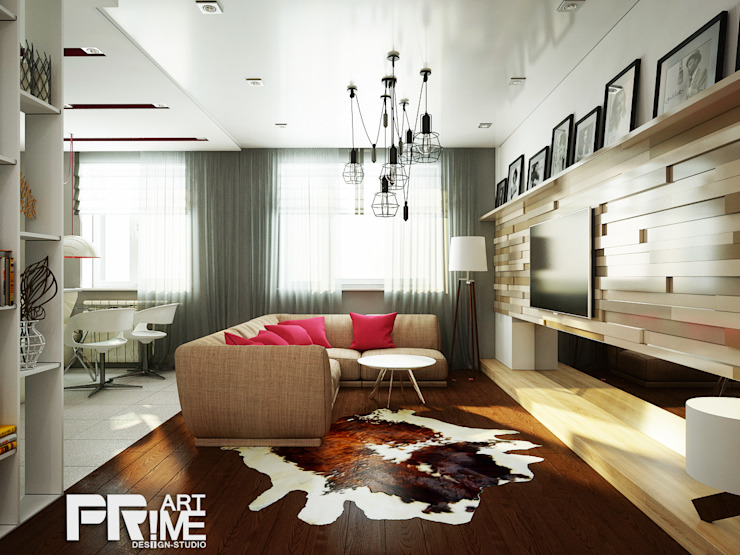 Проект квартиры для молодоженов Гостиная в стиле минимализм от 'PRimeART' Минимализм