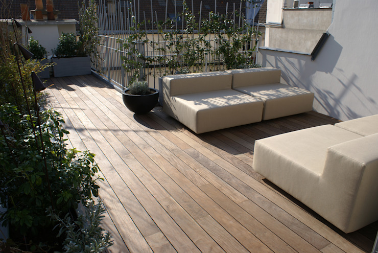 Terrasse Atelier TO-AU Balcon, Veranda & Terrasse modernes