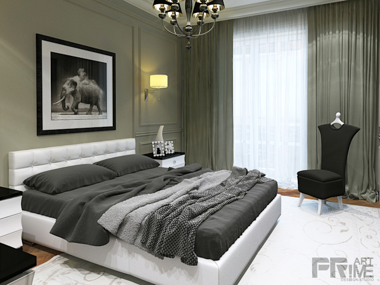 неоклассика 25$ кв.м. Спальня в классическом стиле от 'PRimeART' Классический