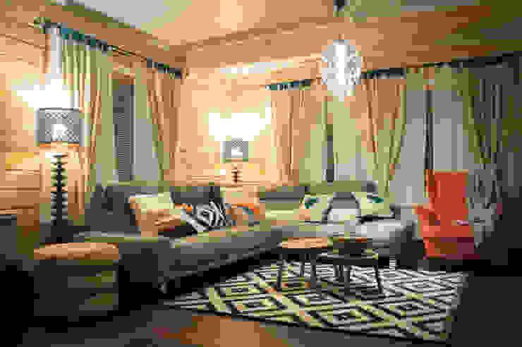 Гостиная в доме из клееного бруса от design-family