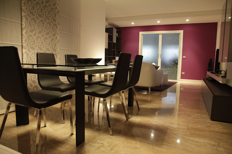 ZONA LIVING: vista sulla zona pranzo Soggiorno moderno di gv-architettura di Gianluca Veronese architetto Moderno