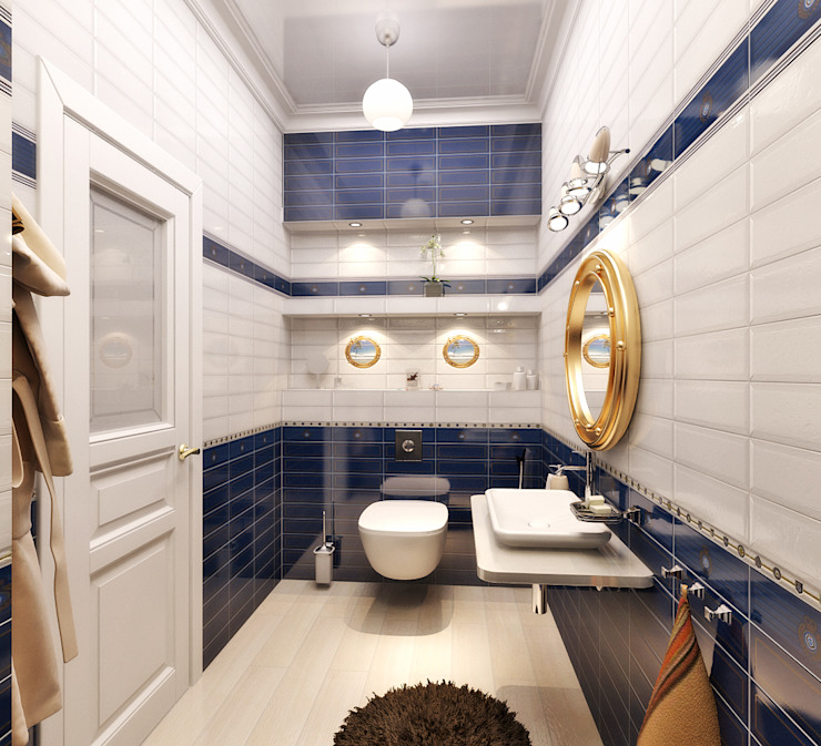 Дом в Средиземноморском стиле в Симферополе Ванная в средиземноморском стиле от Студия дизайна Interior Design IDEAS Средиземноморский