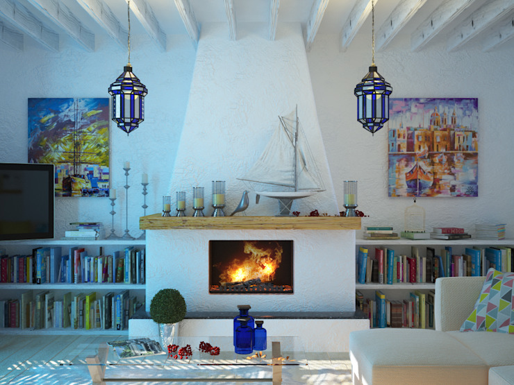 Salas de estilo mediterraneo de Студия дизайна Interior Design IDEAS Mediterráneo