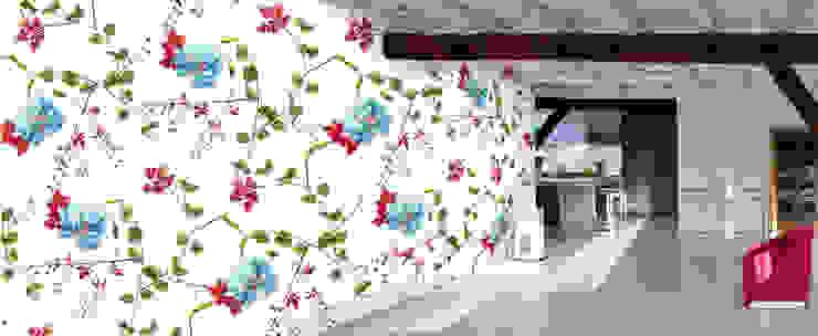 Muurbloem Design Studio_Collection Flowers + Leaves_HerbRobert&Rose_BL: modern  door Muurbloem Design Studio, Modern