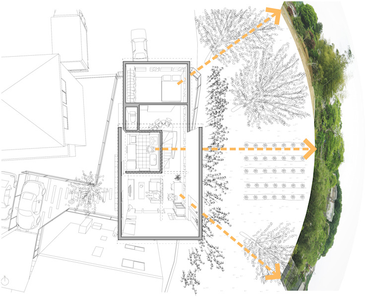 2階子世帯の室内と周辺環境の関係を示すダイアグラム: 株式会社小島真知建築設計事務所 / Masatomo Kojima Architectsが手掛けた現代のです。,モダン