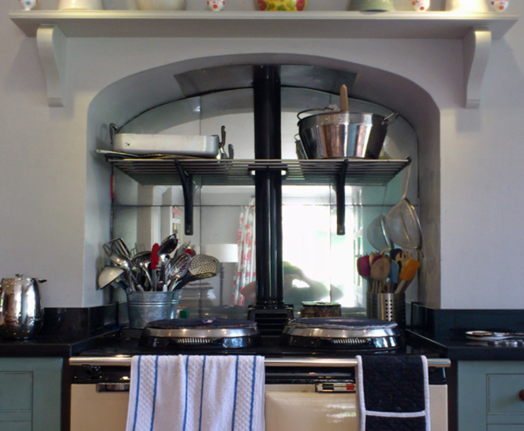Antique mirror glass aga splashback by Mirrorworks, The Antique Mirror Glass Company Country