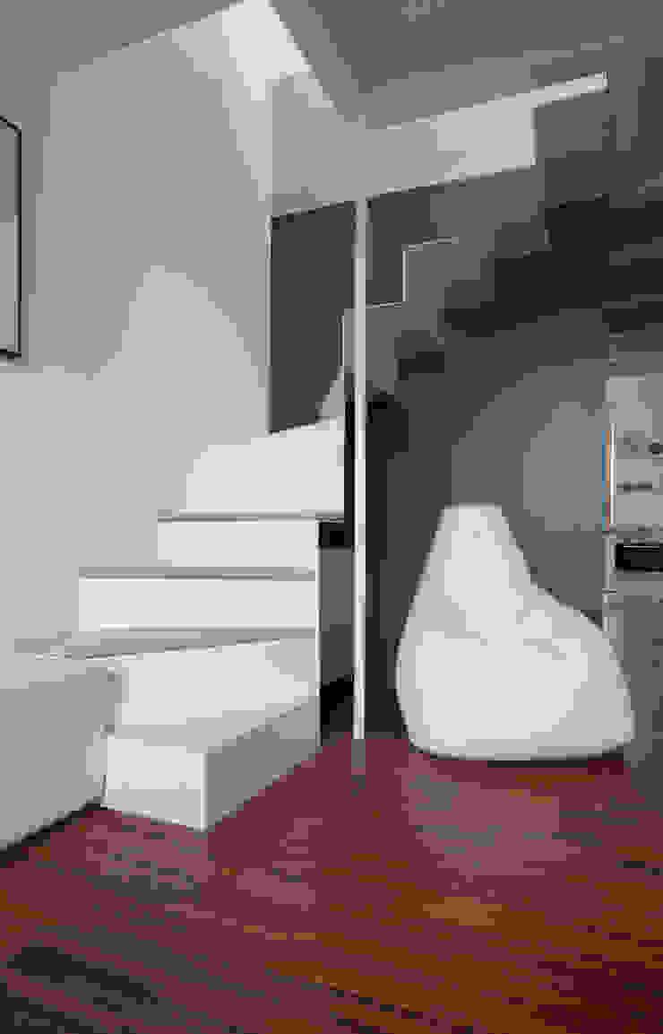 La scala in lamiera piegata Soggiorno moderno di PLUS ULTRA studio Moderno