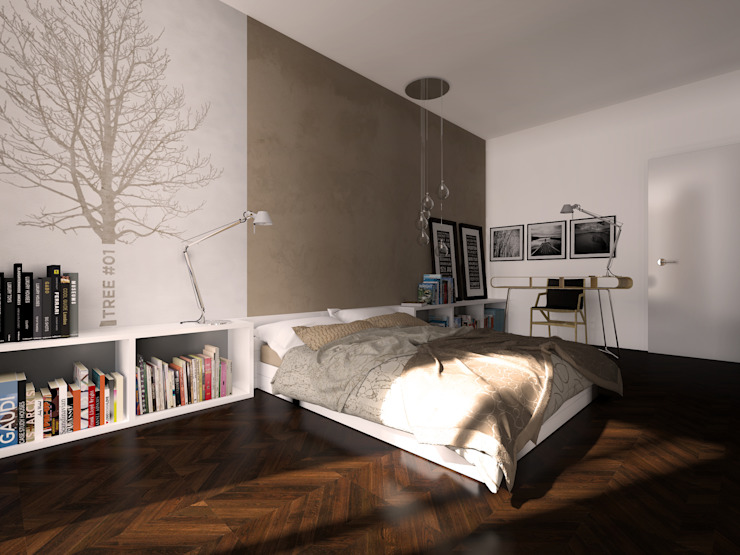 Projekty,  Sypialnia zaprojektowane przez Graziella Fittipaldi Architetto, Minimalistyczny