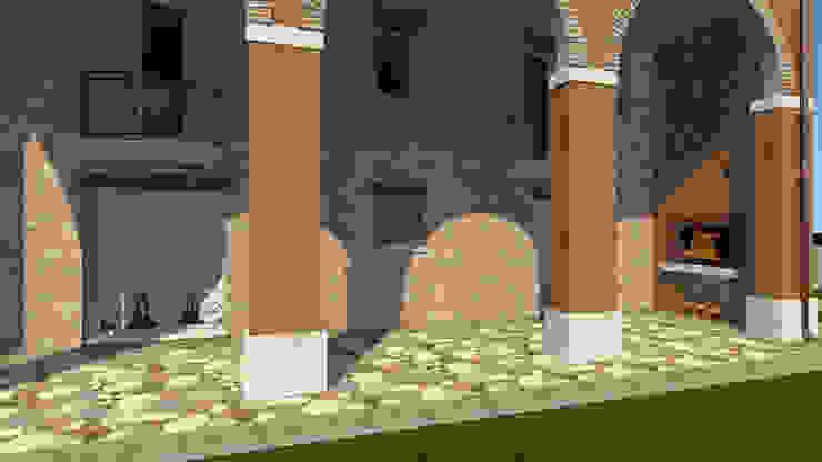 Progetto portico Balcone, Veranda & Terrazza in stile rustico di B.Mid Rustico