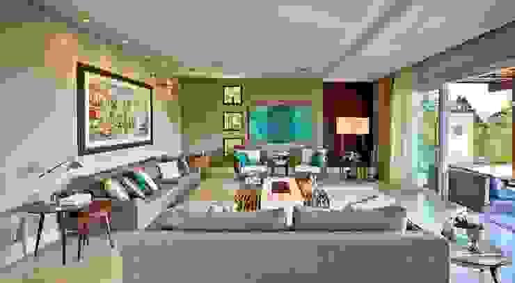 Living com lareira Salas de estar modernas por Espaço do Traço arquitetura Moderno