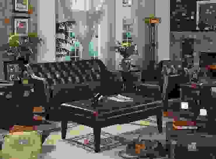 Genuine Leather Sofa Set: classic  by Locus Habitat,Classic