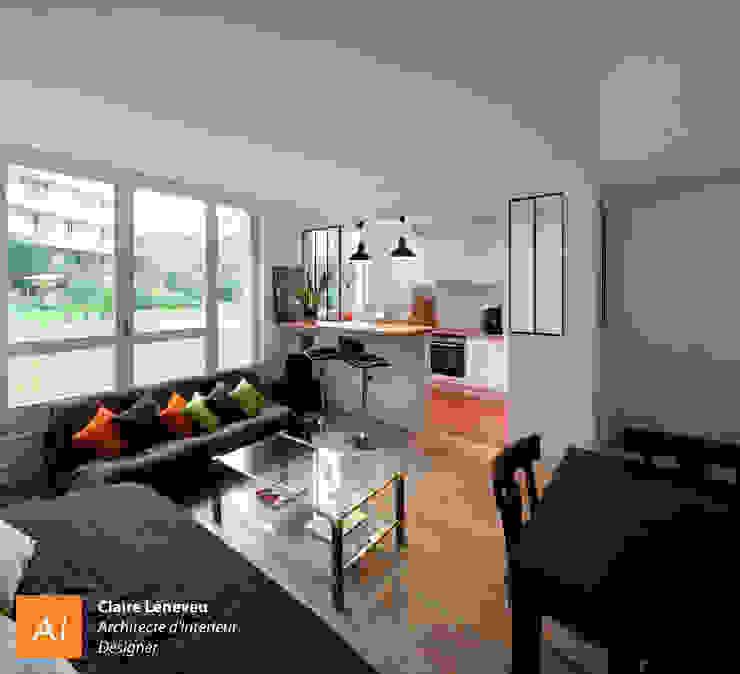 Espace de vie ouverts sur le jardin Salon moderne par Claire Leneveu Moderne