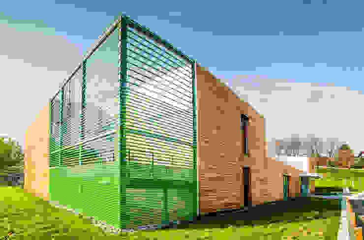 Prospetto Est: lamiera verde per il rivestimento della scala di sicurezza Scuole moderne di Studio FFwd-Architettura Moderno