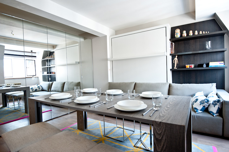 City Pied a Terre Black and Milk | Interior Design | London Sala da pranzo moderna