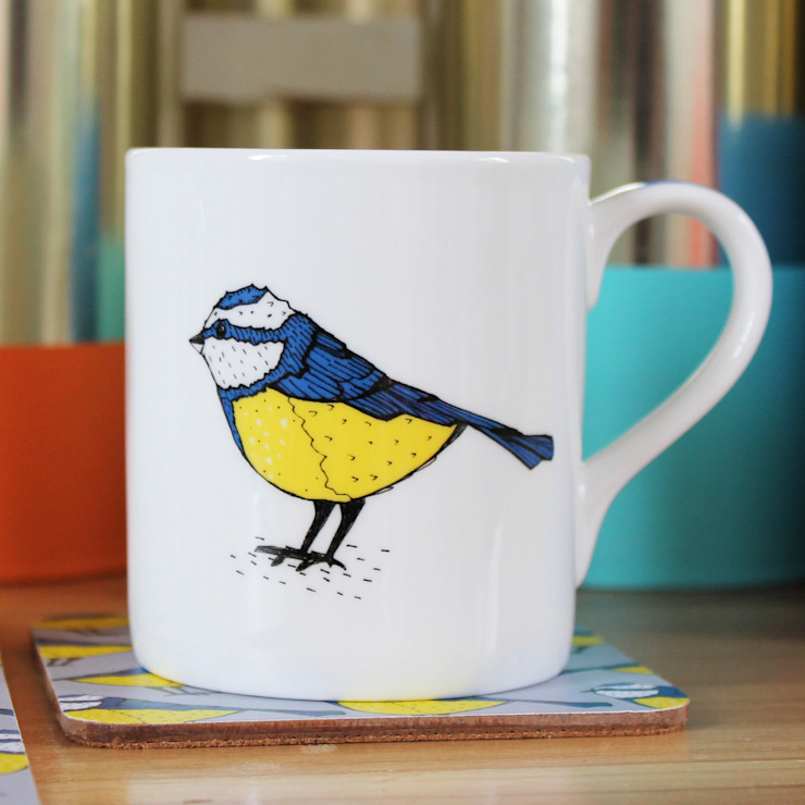 Bold Blue Tit Mug: modern  by martha and hepsie ltd, Modern