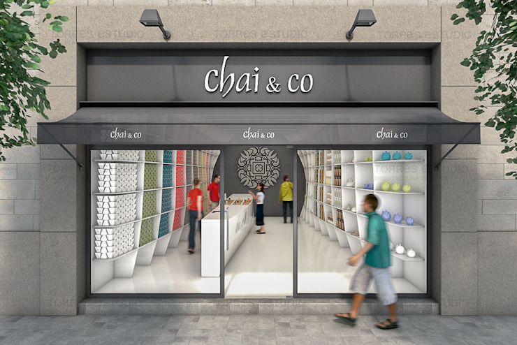 Proyecto de arquitectura corporativa para una nueva Tea Shop Oficinas y tiendas de estilo moderno de Torres Estudio Arquitectura Interior Moderno