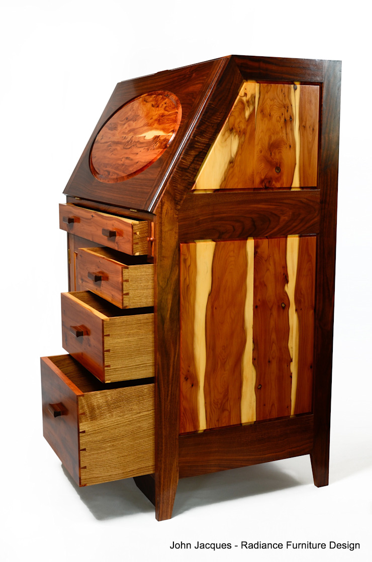 Ellipse Yew and Walnut Computer Bureau.: eclectic  by Radiance Furniture Design, Eclectic