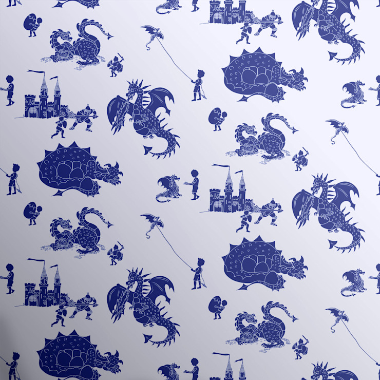 Dragons wallpaper Mister Smith Interiors: eclectic  by Mister Smith Interiors, Eclectic