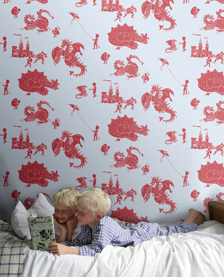 Dragons in Red - Wallpaper by Mister Smith Interiors: eclectic  by Mister Smith Interiors, Eclectic
