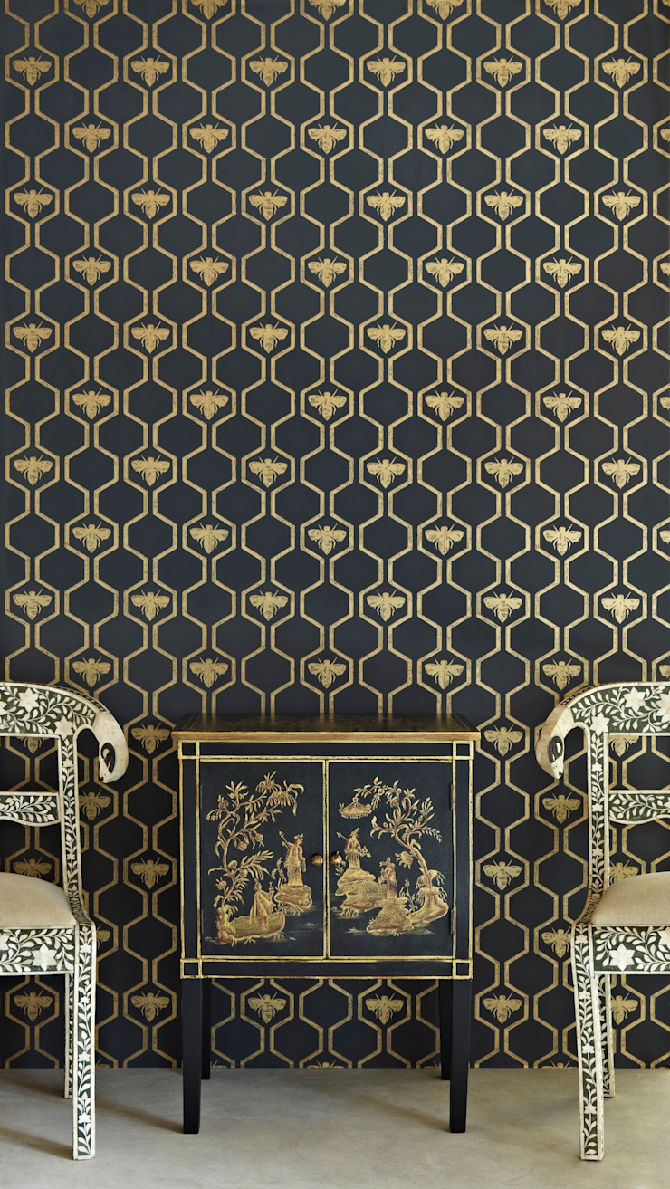 Bees in Hexagons Wallpaper: eclectic  by Mister Smith Interiors, Eclectic