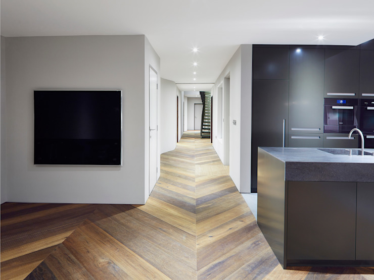 Main Hall Facit Homes Minimalist corridor, hallway & stairs