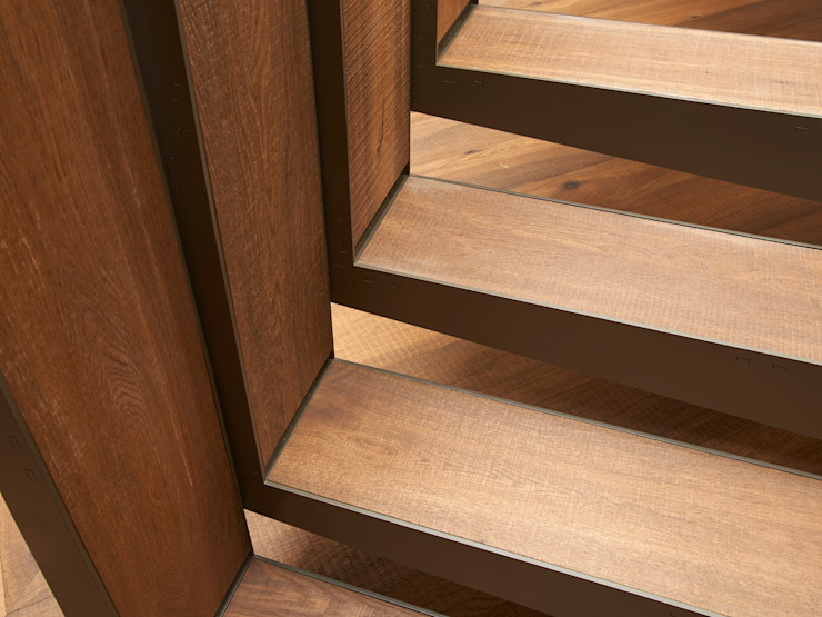 Stair Detail Facit Homes industrial style corridor, hallway & stairs.