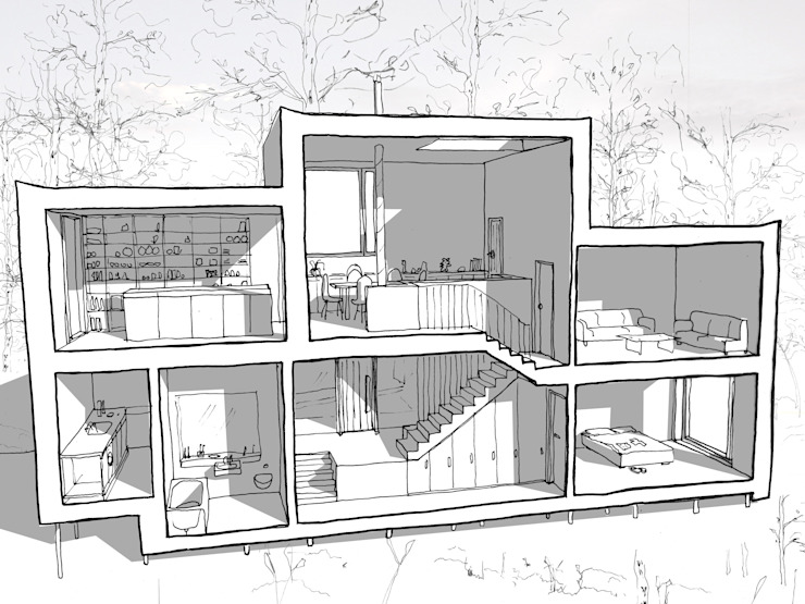 Sketch Section - split levels van Facit Homes