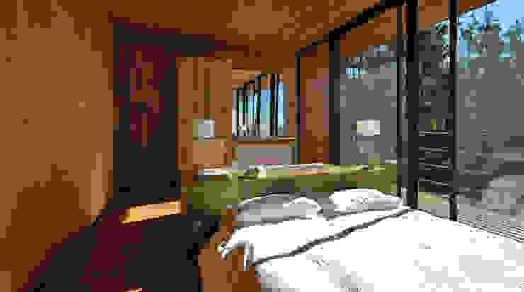 Das Schlafzimmer mit integriertem Bad Minimalistische Schlafzimmer von scoopstudio Minimalistisch