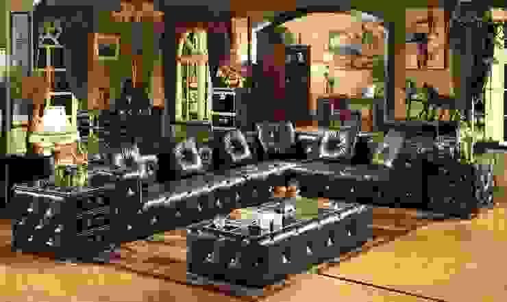 Green Leather Sofa Set: classic  by Locus Habitat,Classic