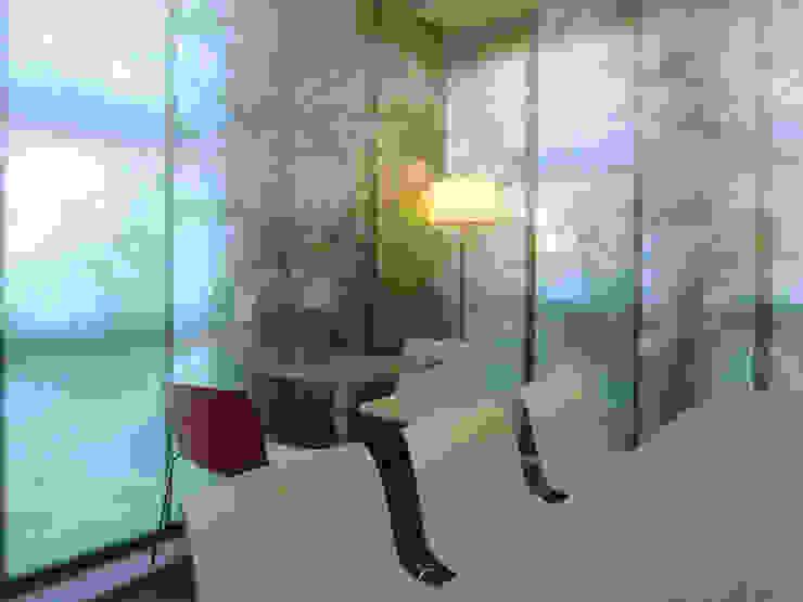 Blick auf die Flächenvorhänge im Sozialraum Moderne Bürogebäude von hansen innenarchitektur materialberatung Modern