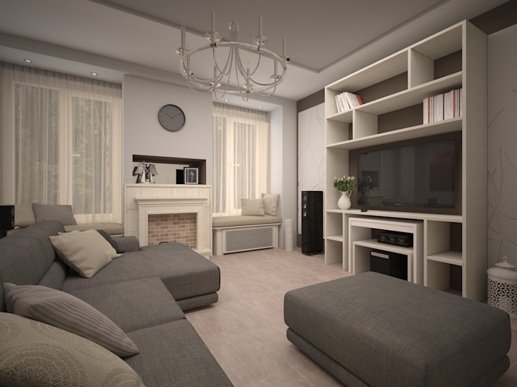 Dubrava Гостиные в эклектичном стиле от Alfia Ilkiv Interior Designer Эклектичный