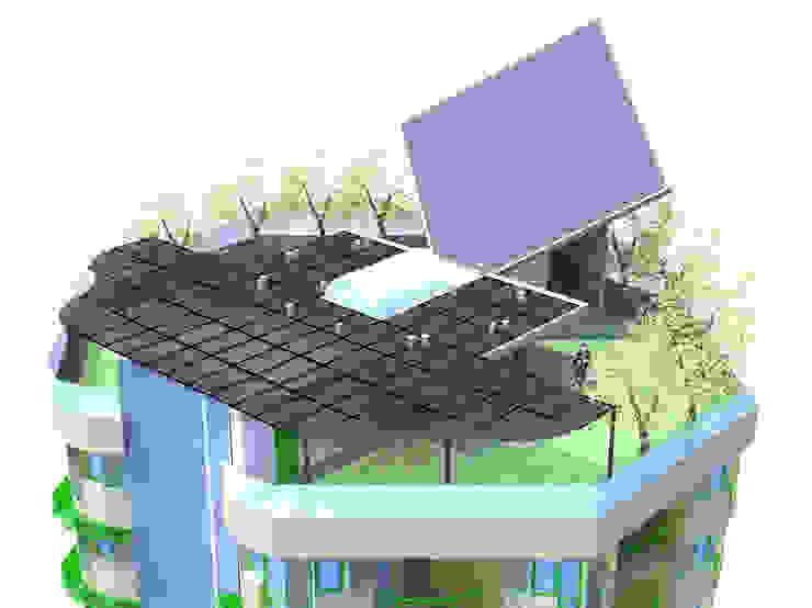 Toiture-jardin avec capteurs solaires Balcon, Veranda & Terrasse originaux par ARCHIC Éclectique
