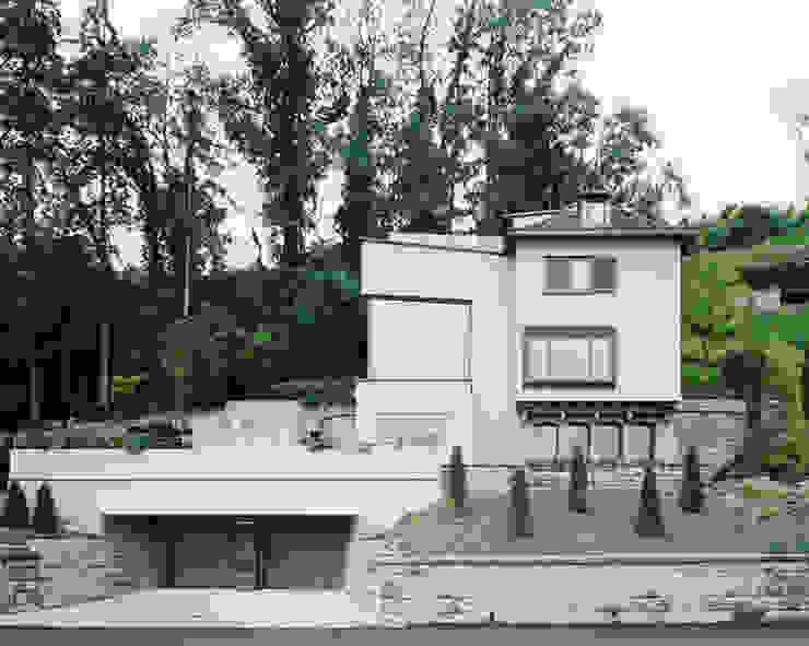 Von der Strasse aus Moderne Häuser von Lando Rossmaier Architekten AG Modern