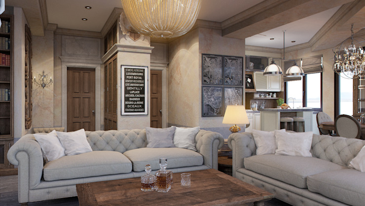Living room by M-project, Rustic