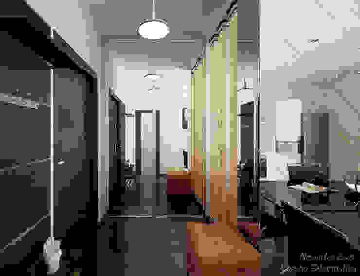 """1-комнатная квартира в ЖК """"Екатеринодар"""" (Краснодар) Коридор, прихожая и лестница в модерн стиле от Студия интерьерного дизайна happy.design Модерн"""