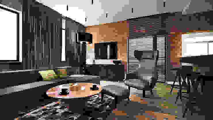 Apartament Wiślane Tarasy Nowoczesny salon od MONOstudio Nowoczesny