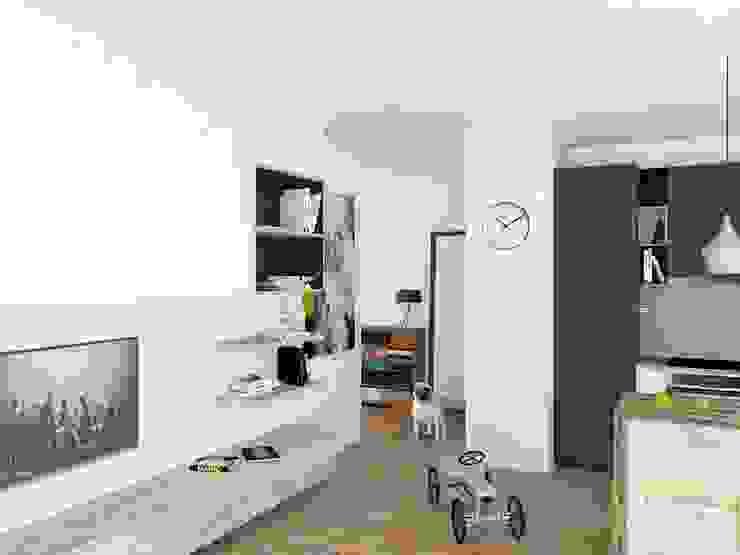 Mieszkanie Młodego Marynarza w Gdyni Nowoczesny salon od BEZ CUKRU studio projektowe Nowoczesny
