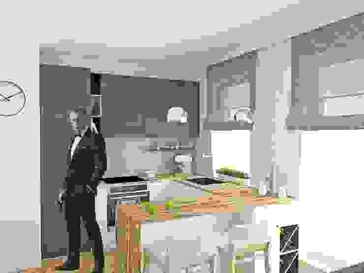 Mieszkanie Młodego Marynarza w Gdyni Nowoczesna kuchnia od BEZ CUKRU studio projektowe Nowoczesny